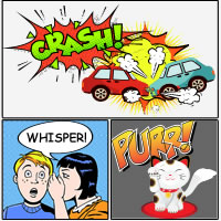 Crash! Whisper and Purr (Onomatopoeias) – About Words